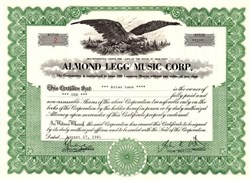 Almond Legg Music Corp. signed by John Kenneth Wetton - New York 1981
