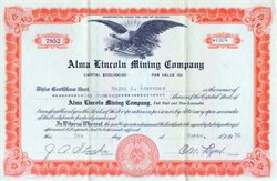 Alma Lincoln Mining Company - Park County, Colorado 1933