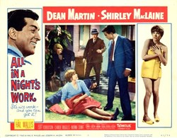 All in a Night's Work Lobby Card Starring Dean Martin and Shirely MacLaine - 1960