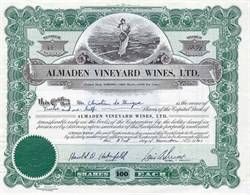 Almaden Vineyard Wines, Ltd. - California 1941