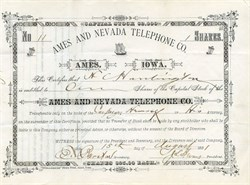 Ames and Nevada Telephone Co. - Ames, Iowa 1881