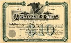 American Automatic Lighting Company - Bayonne, New Jersey 1891