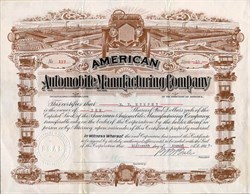 American Automobile Manufacturing Company (Beautiful images of old cars)  - Territory of Arizona 1910