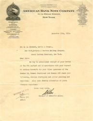 American Bank Note Company Letter - New  York 1914