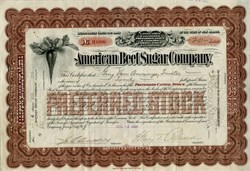 American Beet Sugar Company (Became American Crystal Sugar Company) Signed by Henry T. Oxnard (Oxnard California Founder) - 1904