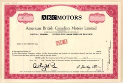 American British Canadian Motors Limited Proof