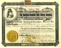 American - Canadian Gold Mining Company 1898 - Wisconsin