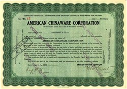 American Chinaware Corporation - Ohio 1929