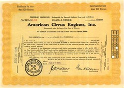 American Cirrus Engines, Inc 1929 - Early Aviation Engine Manafacturer