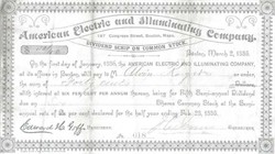 American Electric and Illuminating Company signed by Edward H. Goff - Boston 1885
