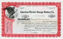 American Electric Storage Battery Company 1921