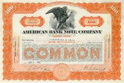 American Banknote Company (Famous Stock, Bond, Old Paper Money and Stamp Printer)