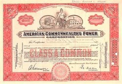 American Commonwealths Power Corp Stock - 1930