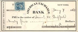 American Exchange Bank Check signed by Edwards Pierrepont  1864 - New York