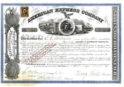 American Express Company hand signed by Henry Wells and James Fargo 1866 - Excellent condition scarce blue border