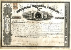 American Express Company signed by Henry Wells and  William Fargo - New York 1865