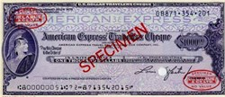 American Express Travelers Cheque - SPECIMEN