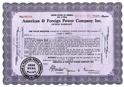 American & Foreign Power Company Inc. - Option Warrant  - Maine 1947