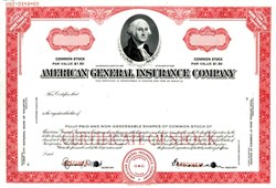 American General Insurance Company Specimen (Now AIG American General) - Owned by American International Group, Inc. (AIG) - 1969