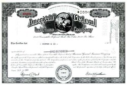 American General Insurance Company (Now AIG American General) - Owned by American International Group, Inc. (AIG) - 1965