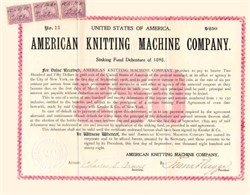 American Knitting Machine Company 1898 - Gold Debenture