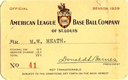 St. Louis Browns Baseball Pass- Missouri 1939