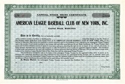 American League Baseball Club of New York, Inc ( Early New York Yankees ) 1915