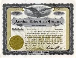 American Motor Truck Company - Detroit, Michigan 1916