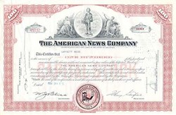 American News Company Stock Certificate - Early Paperboy Vignette