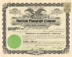 American Planograph Company signed by Chas. T. Moore as President - West Virginia 1901