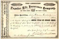 American Popular Life Insurance Company - New York 1873