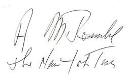 A. M. Rosenthal Autograph - New York Times