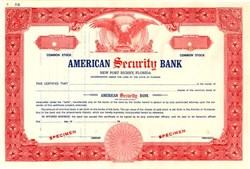 American Security Bank ( Became Ellis Security Bank ) - New Port Richey,  Florida 1968