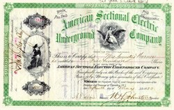 American Sectional Electric Underground Company 1883 New Jersey