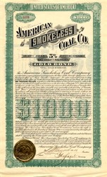 American Smokeless Coal Co. $1000 Gold Bond - Arkansas 1901