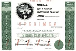 American South African Investment Company Limited (Became ASA Limited) - Republic of South Africa 1971
