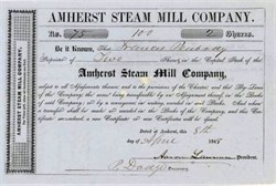 Amherst Steam Mill Company 1848 - New Hampshire