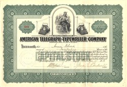 American Telegraph-Typewriter Company signed by George A. Cardwell  - Delaware 1910