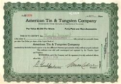 American Tin & Tungsten Company - Delaware 1919