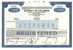 American University Revenue Bond  (Marion Barry as Mayor) - District of Columbia 1988
