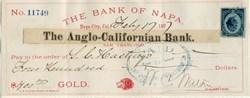 Bank of Napa / Anglo-California Bank - Payable in Gold Check - Napa City, California 1877