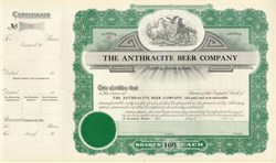 Anthracite Beer Company Stock Certificate