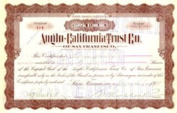 Anglo California Trust Company - San Francisco, California 1911