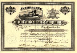 Anthracite Coal and Iron Company signed by Grinnell Burt  (Warwick Valley Railroad founder) - New York 1880