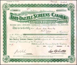 Anti - Dazzle Screens Canada 1929
