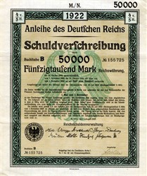 Anleihe des Deutfchen Reichs German 50,000 Mark (elaborate watermark) uncancelled bond certificate with coupons - 1922