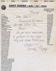 Andy Razaf autographed letter dated 1954