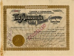 Anaconda Gold Mining Company signed by David Halliday Moffat - Cripple Creek, Colorado 1892