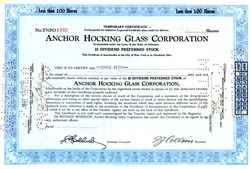 Anchor Hocking Glass Corporation - Delaware 1940