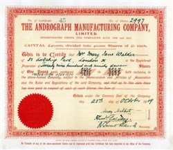 Andrograph Manufacturing Company 1919